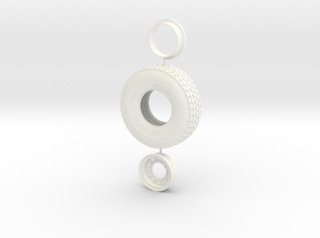 Heavy Duty Tire and Rim 56,4mm in White Processed Versatile Plastic