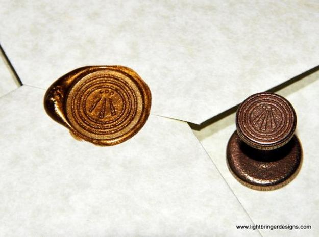 Awen Wax Seal 3d printed Awen wax seal with impression in Gold sealing wax