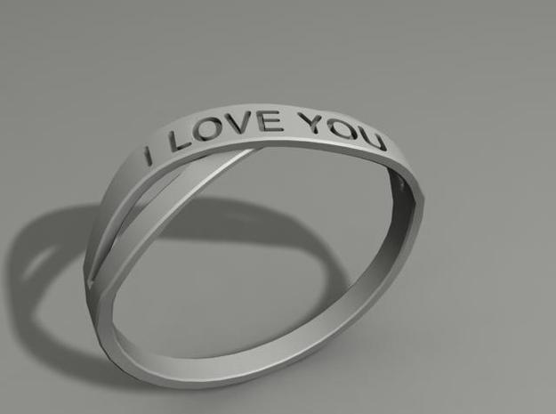 I Love You ring US12 in White Natural Versatile Plastic
