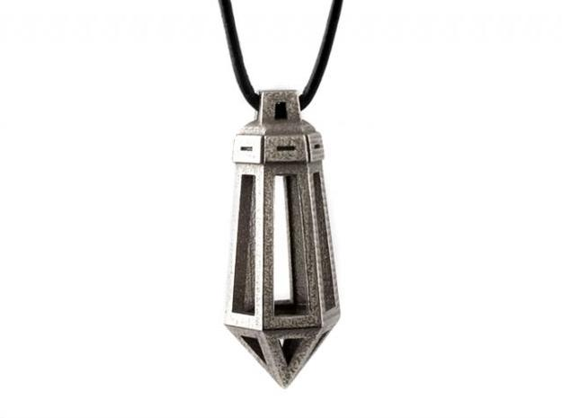 Crystal Pendant in Polished Bronzed Silver Steel