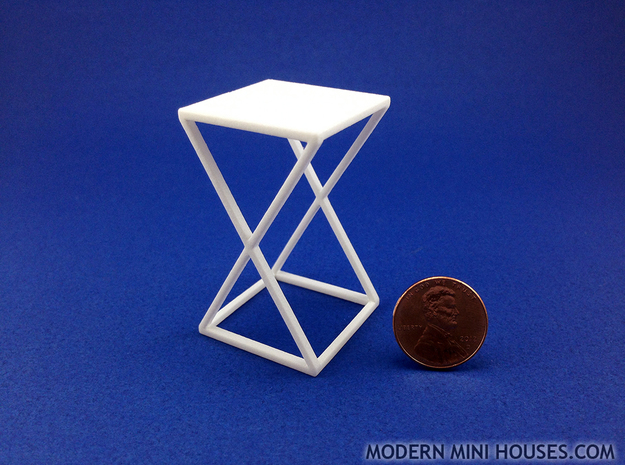 Xtra Side Table 1:12 scale in White Processed Versatile Plastic