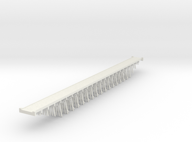 Trestle N (1:160) Six Piles Bridge With Deck in White Natural Versatile Plastic