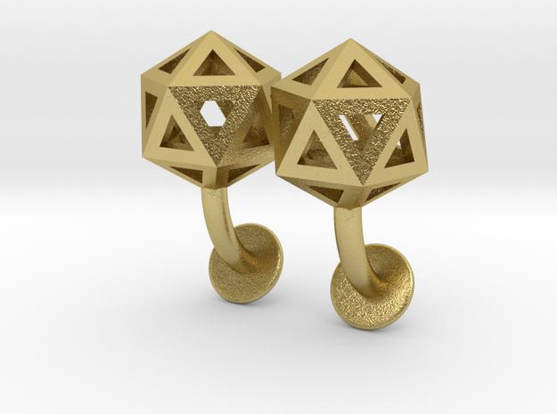 Icosahedron Cufflinks in Natural Brass