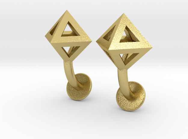 Octahedron Cufflinks in Natural Brass