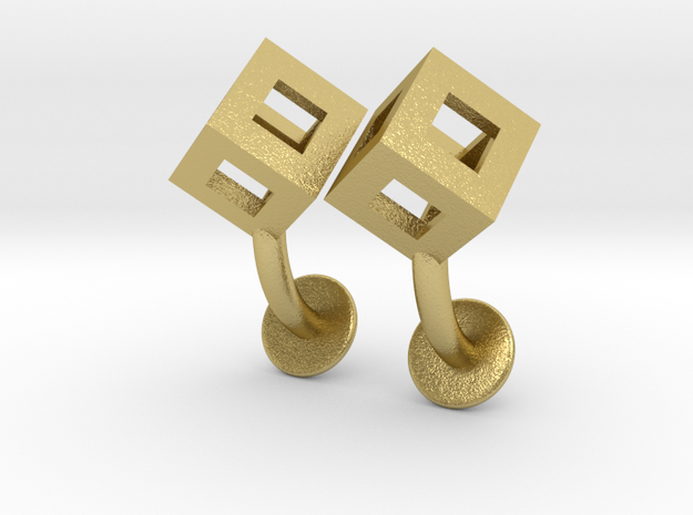 Cube cufflinks in Natural Brass