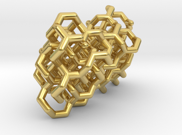 Gyroid Lattice Earrings in Polished Brass (Interlocking Parts)