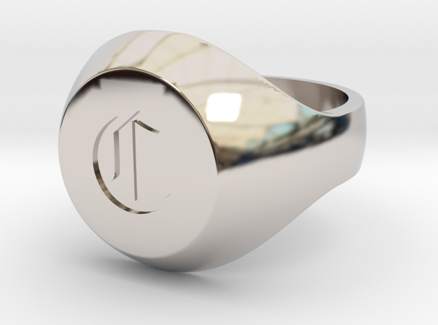 "Initial Ring ""C"" in Rhodium Plated Brass"