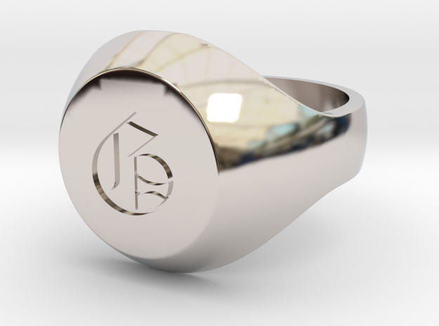 "Initial Ring ""G"" in Rhodium Plated Brass"