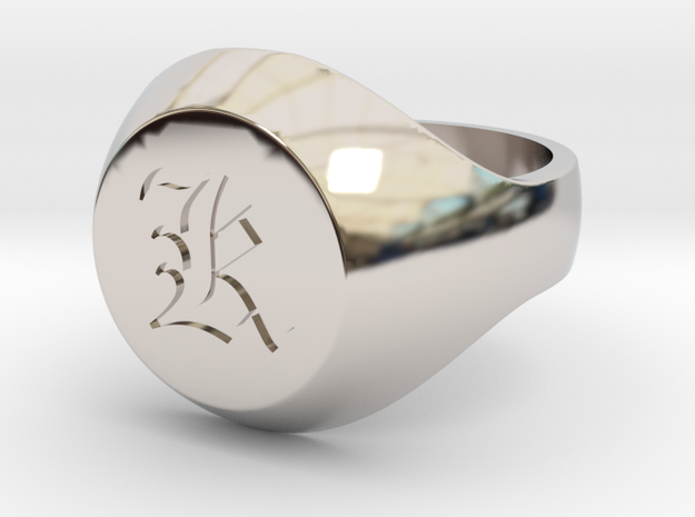 """Initial Ring """"K"""" in Rhodium Plated Brass"""
