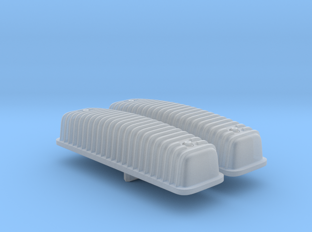 1/25 Ford Y-block Valve Covers, Ribbed in Smooth Fine Detail Plastic