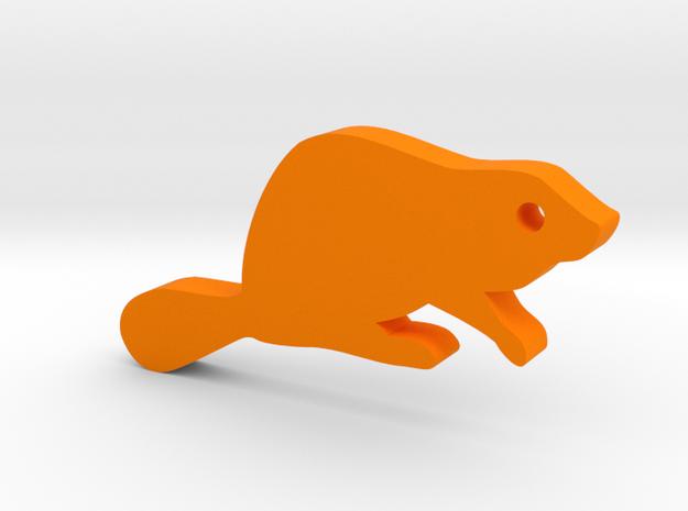 Beaver Silhouette Keychain in Orange Processed Versatile Plastic