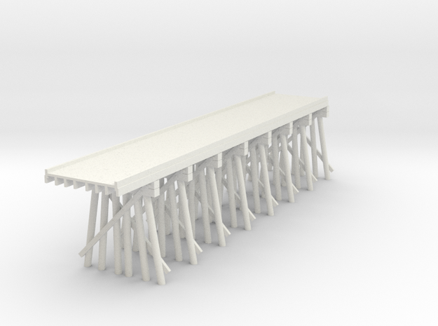 Part C Deck Trestle N (1:160) Modular Six Piles in White Natural Versatile Plastic