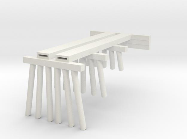 Part A Trestle N (1:160) Modular Six Piles in White Natural Versatile Plastic
