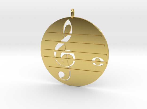 Treble clef in Polished Brass