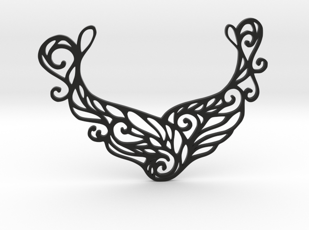 Butterfly pendant in Black Natural Versatile Plastic: Large