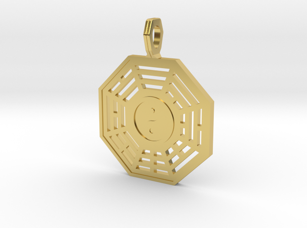 Bagua symbol flat in Polished Brass