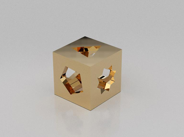 Multi figures cube in 14K Yellow Gold