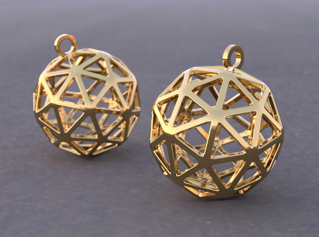 Pentakis Dodecahedron Earrings in Polished Brass