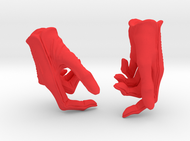 Revolver Gloves in Red Processed Versatile Plastic: Small