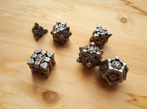 Fortress Dice Set with Decader  in Polished Bronzed Silver Steel