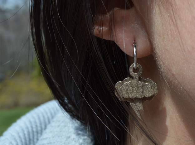 Stormy Day Earrings in Polished Bronzed Silver Steel