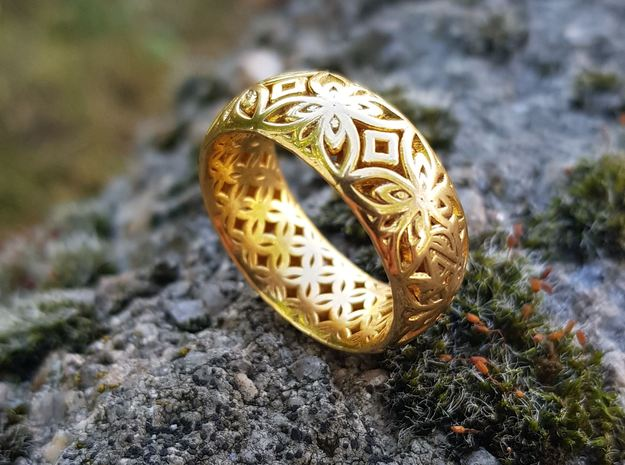 Java Ring Kawong Double Pattern in 14k Gold Plated Brass