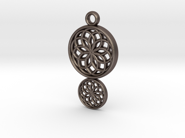 Dreamcatcher Pendant in Polished Bronzed Silver Steel