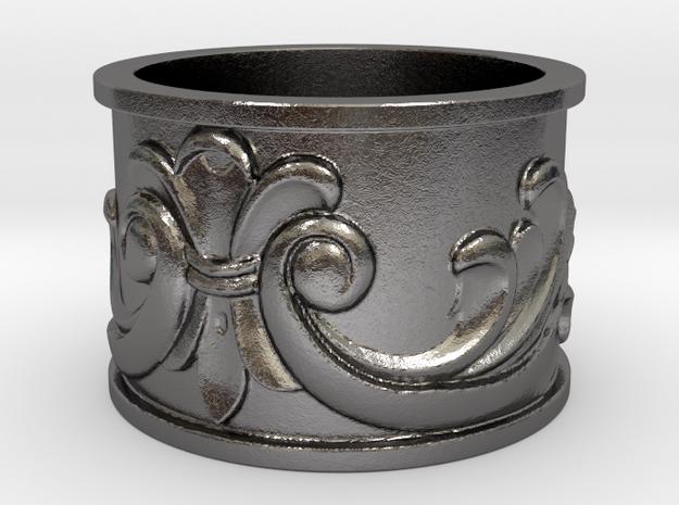 Flourish Ring in Polished Nickel Steel: 4 / 46.5