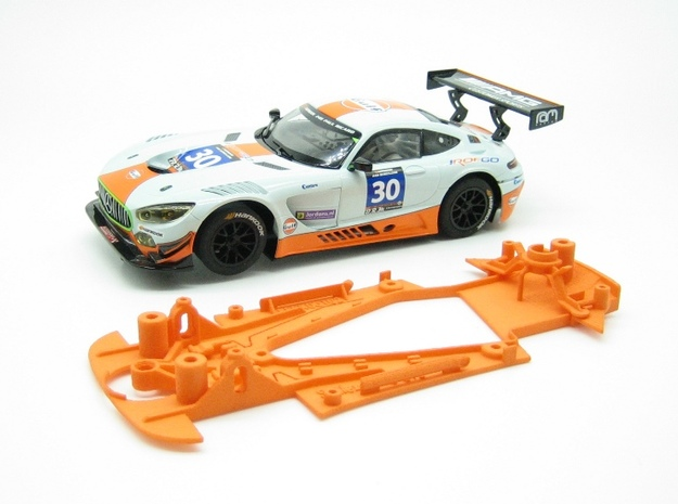 PSSX00105 Chassis Kit for Scalextric AM GT3 (NSR) in Orange Processed Versatile Plastic