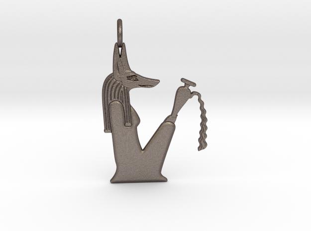 Kebehwet amulet (Jackal version) in Polished Bronzed-Silver Steel