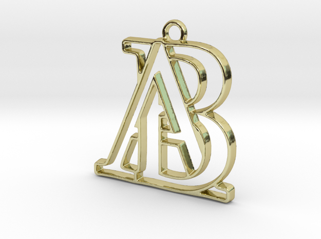 Monogram with initials A&B in 18k Gold Plated Brass