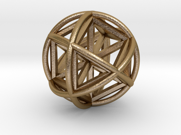 Vector EquilibriSphere w/Nested Vector Equilibrium in Polished Gold Steel