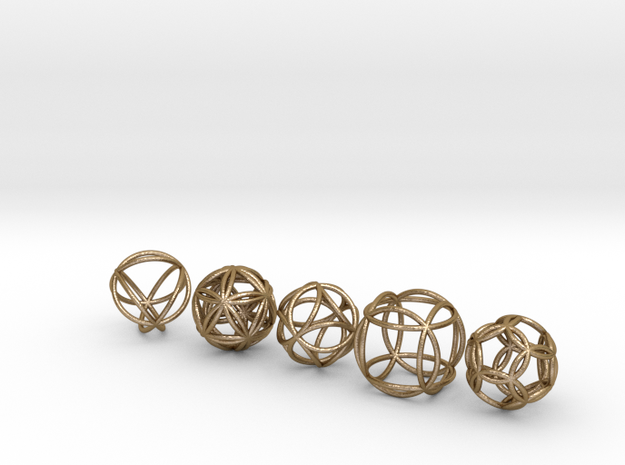 Platonic Spheres (set of 5) in Polished Gold Steel