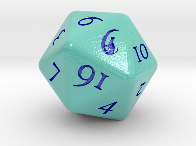 D&D D20 Druid Circle of the Moon in Glossy Full Color Sandstone