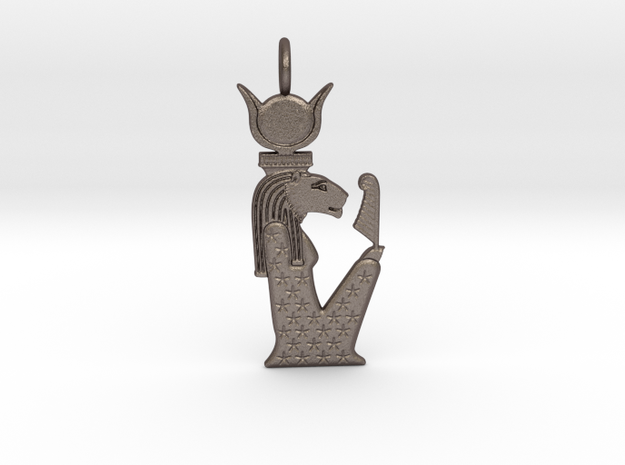 Sekhmet-Nut / Nebetuu amulet in Polished Bronzed-Silver Steel