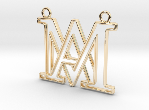 Monogram with initials A&M in 14k Gold Plated Brass