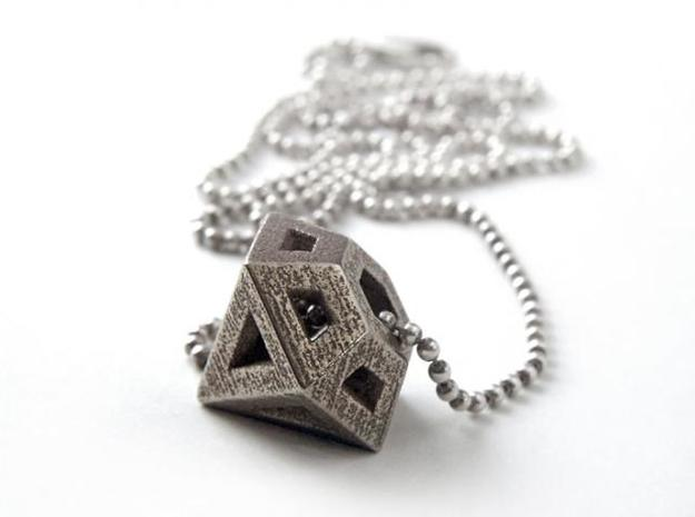 Diamond Pendant 3d printed Stainless Steel
