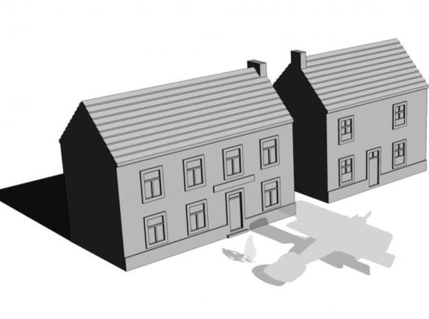 1/350 Village Houses 8 in White Natural Versatile Plastic