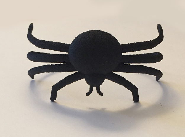 Black Spider Bracelet in Black Natural Versatile Plastic: Medium