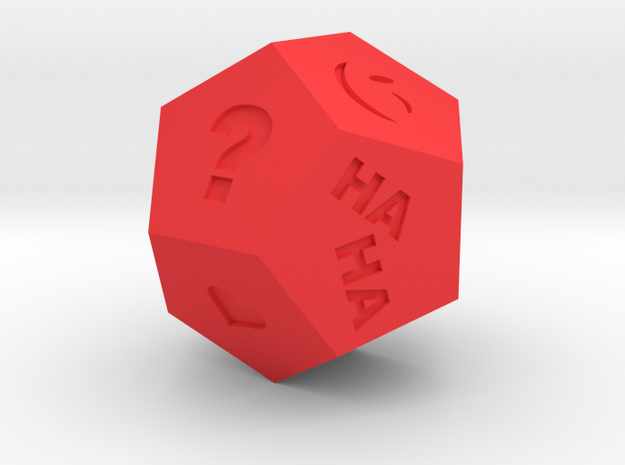 dodecahedron fortune telling dice in Red Processed Versatile Plastic