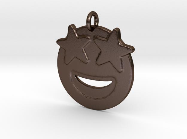 Starr Eyed Emoji Pendant - Metal in Polished Bronze Steel
