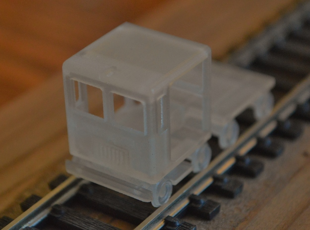 HO-Scale Small Speeder & Trailer in Smooth Fine Detail Plastic