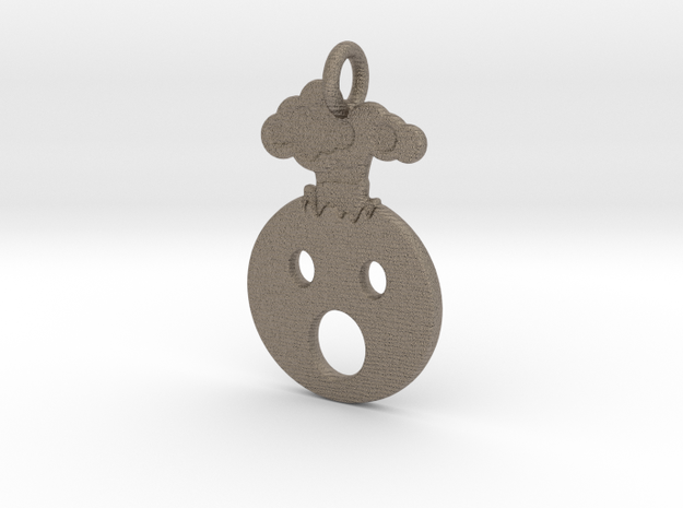 Mind Blown Emoji Pendant - Metal in Matte Bronzed-Silver Steel