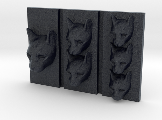 Cat Triptych-Faced Caricature (002) in Black PA12