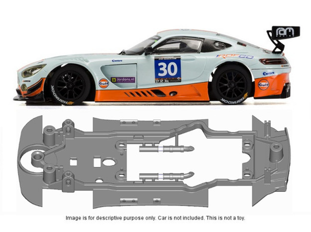 S23-ST2 Chassis for Scalextric AMG STD/STD in Black Natural Versatile Plastic