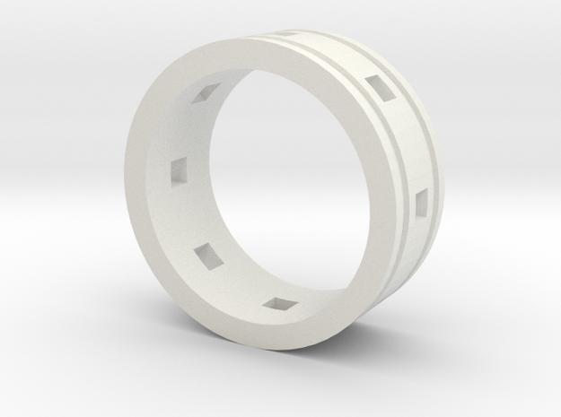 Ring Lines Square Cutout in White Premium Versatile Plastic