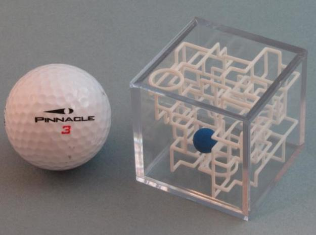 """Bare Bones"" Two-Pack - Rolling Ball Maze in Case 3d printed Maze with Golf Ball"