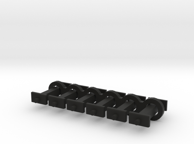 N Scale 9mm Fixed Coupling Drawbar x6 in Black Natural Versatile Plastic