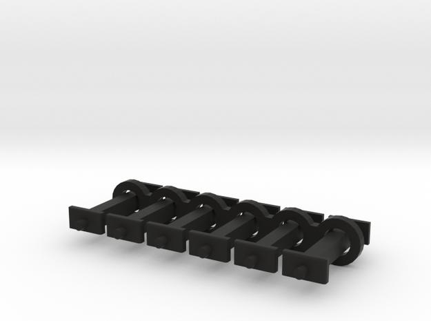 N Scale 10mm Fixed Coupling Drawbar x6 in Black Natural Versatile Plastic