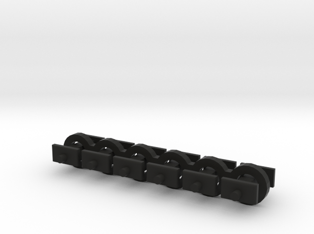 N Scale 5mm Fixed Coupling Drawbar x6 in Black Natural Versatile Plastic